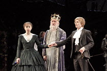 ALL'S WELL THAT ENDS WELL   by Shakespeare   design: Rae Smith   lighting: Peter Mumford   director: Marianne Elliott ~l-r: Michelle Terry (Helena), Oliver Ford Davies (King of France), George Rainsfo...