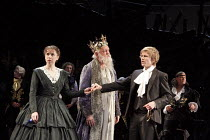 ALL'S WELL THAT ENDS WELL   by Shakespeare   design: Rae Smith   lighting: Peter Mumford   director: Marianne Elliott ~front l-r: Michelle Terry (Helena), Oliver Ford Davies (King of France), George R...