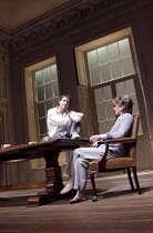 ARCADIA   by Tom Stoppard   set design: Hildegard Bechtler   costumes: Amy Roberts   ~lighting: Paul Anderson   director: David Leveaux ~~Ed Stoppard (Valentine Coverly), Samantha Bond (Hannah Jarvis)...