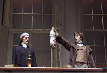 ARCADIA   by Tom Stoppard   set design: Hildegard Bechtler   costumes: Amy Roberts   lighting: Paul Anderson   director: David Leveaux ~~l-r: Sam Cox (Jellaby), Dan Stevens (Septimus Hodge)~Duke of Yo...