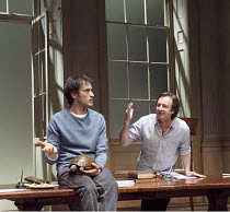 ARCADIA   by Tom Stoppard   set design: Hildegard Bechtler   costumes: Amy Roberts   lighting: Paul Anderson   director: David Leveaux ~~l-r: Ed Stoppard (Valentine Coverly), Neil Pearson (Bernard Nig...