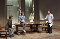 ARCADIA   by Tom Stoppard   set design: Hildegard Bechtler   costumes: Amy Roberts   lighting: Paul Anderson   director: David Leveaux ~~l-r: Samantha Bond (Hannah Jarvis), Ed Stoppard (Valentine Cove...