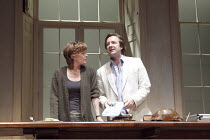 ARCADIA   by Tom Stoppard   set design: Hildegard Bechtler   costumes: Amy Roberts   lighting: Paul Anderson   director: David Leveaux ~~Samantha Bond (Hannah Jarvis), Neil Pearson (Bernard Nightingal...