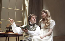 ARCADIA   by Tom Stoppard   set design: Hildegard Bechtler   costumes: Amy Roberts   lighting: Paul Anderson   director: David Leveaux ~~Dan Stevens (Septimus Hodge), Jessie Cave (Thomasina Coverly)~D...