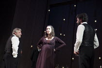 THE WINTER'S TALE   by Shakespeare   set design: Anthony Ward   costumes: Catherine Zuber   lighting: Paul Pyant   director: Sam Mendes ~l-r: Simon Russell Beale (Leontes), Rebecca Hall (Hermione), Jo...