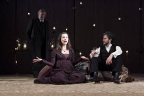THE WINTER'S TALE   by Shakespeare   set design: Anthony Ward   costumes: Catherine Zuber   lighting: Paul Pyant   director: Sam Mendes ~l-r: Paul Jesson (Camillo), Rebecca Hall (Hermione), Josh Hamil...