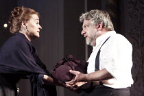 THE WINTER'S TALE   by Shakespeare   set design: Anthony Ward   costumes: Catherine Zuber   lighting: Paul Pyant   director: Sam Mendes ~Paulina presents Hermione's baby to  Leontes: Sinead Cusack (Pa...