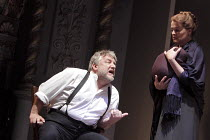 THE WINTER'S TALE   by Shakespeare   set design: Anthony Ward   costumes: Catherine Zuber   lighting: Paul Pyant   director: Sam Mendes ~Simon Russell Beale (Leontes), Sinead Cusack (Paulina - holding...