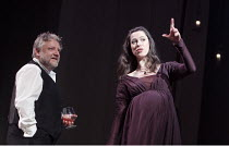 THE WINTER'S TALE   by Shakespeare   set design: Anthony Ward   costumes: Catherine Zuber   lighting: Paul Pyant   director: Sam Mendes ~Simon Russell Beale (Leontes), Rebecca Hall (Hermione)~The Brid...
