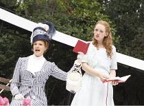 THE IMPORTANCE OF BEING EARNEST   by Oscar Wilde   design: Kevin Knight   director: Irina Brown ~l-r: Jo Herbert (Gwendolen Fairfax), Lucy Briggs Owen (Cecily Cardew)   ~Open Air Theatre (OAT) / Regen...