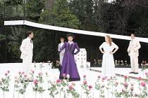 THE IMPORTANCE OF BEING EARNEST   by Oscar Wilde   design: Kevin Knight   director: Irina Brown ~l-r: Ryan Kiggell (John Worthing), Jo Herbert (Gwendolen Fairfax), Susan Wooldridge (Lady Bracknell), L...