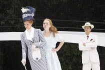 THE IMPORTANCE OF BEING EARNEST   by Oscar Wilde   design: Kevin Knight   director: Irina Brown ~l-r: Jo Herbert (Gwendolen Fairfax), Lucy Briggs Owen (Cecily Cardew), Ryan Kiggell (John Worthing)~Ope...