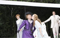 THE IMPORTANCE OF BEING EARNEST   by Oscar Wilde   design: Kevin Knight   director: Irina Brown ~l-r: Jo Herbert (Gwendolen Fairfax), Susan Wooldridge (Lady Bracknell), Lucy Briggs Owen (Cecily Cardew...