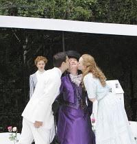 THE IMPORTANCE OF BEING EARNEST   by Oscar Wilde   design: Kevin Knight   director: Irina Brown ~l-r: Jo Herbert (Gwendolen Fairfax), Ryan Kiggell (John Worthing), Susan Wooldridge (Lady Bracknell), L...