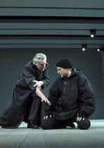 HAMLET   by Shakespeare   design: Alison Chitty   lighting: Peter Mumford   director: Steven Pimlott    I/v l-r: Christopher Good (Ghost), Samuel West (Hamlet) Royal Shakespeare Company (RSC) / Roya...