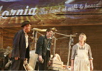 THE GRAPES OF WRATH   by John Steinbeck   adapted by Frank Galati   design: Simon Higlett   lighting: Tim Mitchell   director: Jonathan Church   l-r: Christopher Timothy (Pa Joad), Damian O'Hare (Tom...