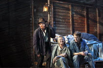 THE GRAPES OF WRATH   by John Steinbeck   adapted by Frank Galati   design: Simon Higlett   lighting: Tim Mitchell   director: Jonathan Church   l-r: Christopher Timothy (Pa Joad), Sorcha Cusack (Ma...