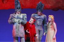 DAS RHEINGOLD   by Wagner   conductor: Valery Gergiev   stage design: George Tsypin   costumes: Tatiana Noginova   lighting: Gleb Filshtinsky   director: Alexander Zeldin   l-r: Gennady Bezzubenkov(F...