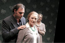 ANOTHER DOOR CLOSED   by Peter Gill   design: Jessica Curtis   lighting: Paul Pyant   director: Peter Gill   l-r: Sean Chapman (Man), June Watson (Woman One), Marjorie Yates (Woman Two) Peter Hall C...