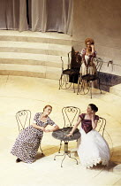 MUCH ADO ABOUT NOTHING   by Shakespeare   design: Mark Thompson   lighting: Mark Henderson   director: Di Trevis   rear: Maggie Steed (Beatrice)   front, l-r: Caroline Harding (Ursula), Julia Ford (H...