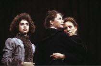 THREE SISTERS   by Chekhov   translated by Michael Frayn   design & lighting: John Bury   director: Elijah Moshinsky ~l-r: Katharine Schlesinger (Irina), Sara Kestelman (Olga), Francesca Annis (Masha)...