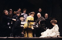 THREE SISTERS   by Chekhov   translated by Michael Frayn   design & lighting: John Bury   director: Elijah Moshinsky ~front right: Katharine Schlesinger (Irina) with the spinning top~Albery Theatre, L...