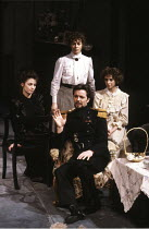 THREE SISTERS   by Chekhov   translated by Michael Frayn   design & lighting: John Bury   director: Elijah Moshinsky   l-r: Joanne Whalley (Masha), Sara Kestelman (Olga), Ian Ogilvy (Lieutenant-Colon...