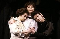 THREE SISTERS   by Chekhov   translated by Michael Frayn   design & lighting: John Bury   director: Elijah Moshinsky ~l-r: Katharine Schlesinger (Irina), Sara Kestelman (Olga), Joanne Whalley (Masha)...
