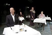 TABLE NO. 7 - SEPARATE TABLES   by Terence Rattigan   design: Stephen Brimson-Lewis   lighting: Paul Pyant   director: Philip Franks ~l-r: Iain Glen (Major Pollock), Deborah Findlay (Miss Cooper), Jos...