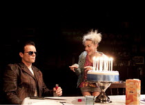 THE FASTEST CLOCK IN THE UNIVERSE   by Philip Ridley   design: Mark Thompson   lighting: Rick Fisher   director: Edward Dick   l-r: Alec Newman (Cougar Glass), Jaime Winstone (Sherbet Gravel) Hampst...