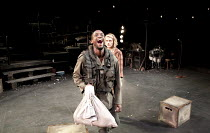 THE CAUCASIAN CHALK CIRCLE   by Brecht   in a new translation by Alistair Beaton   design: Colin Richmond   lighting: Chris Davey   director: Nancy Meckler ~Peter Bankole (Simon), Matti Houghton (Grus...