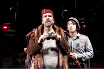 THE CAUCASIAN CHALK CIRCLE   by Brecht   in a new translation by Alistair Beaton   design: Colin Richmond   lighting: Chris Davey   director: Nancy Meckler ~l-r: James Clyde (Azdak), Steven Meo (Adjut...
