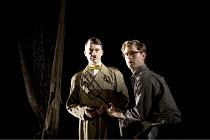 FOUND IN THE GROUND   by Howard Barker   set design: Tomas Leipzig   costumes: Billie Kaiser   lighting: Helen Morley   director: Howard Barker ~~Alan Cox (Hitler), Kyle Soller (Denmark)   ~The Wrestl...