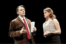 THE POWER OF YES   by David Hare   design: Bob Crowley   lighting: Paule Constable   director: Angus Jackson ~Anthony Calf (The Author), Jemima Rooper (Masa Serdarevic)   ~Lyttelton Theatre / National...