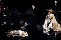 THE WHITE DEVIL   by John Webster   design & direction: Philip Prowse   lighting: Gerry Jenkinson ~front left: body of Brachiano   front right: Josette Simon (Vittoria Corombona)   rear: Eleanor Bron...