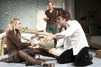 BEDROOM FARCE   by Alan Ayckbourn   set design: Simon Higlett   costumes: Mark Bouman & Mia Flodquist   lighting: Peter Mumford   director: Peter Hall ~l-r: Rachel Pickup (Susannah), Daniel Betts (Mal...