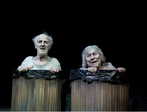 ENDGAME   by Samuel Beckett   set design: Tim Hatley   costumes: Christina Cunningham   lighting: Paul Anderson   director: Simon McBurney   Tom Hickey (Nagg), Miriam Margolyes (Nell) Complicite / D...
