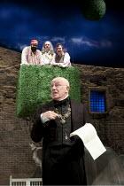 TWELFTH NIGHT   by Shakespeare   design: Robert Jones   lighting: Tim Mitchell   director: Gregory Doran ~top, l-r: Tony Jayawardena (Fabian), James Fleet (Sir Andrew Aguecheek), Richard McCabe (Sir T...