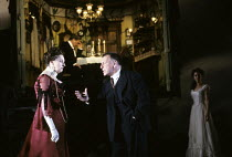 AN INSPECTOR CALLS   by J B Priestley   design: Ian MacNeil   lighting: Rick Fisher   director: Stephen Daldry   l-r: Barbara Leigh-Hunt (Sybil Birling), (rear) Richard Pasco (Arthur Birling), Kenne...