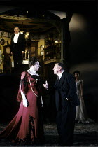 AN INSPECTOR CALLS   by J B Priestley   design: Ian MacNeil   lighting: Rick Fisher   director: Stephen Daldry   l-r: Richard Pasco (Arthur Birling), Barbara Leigh-Hunt (Sybil Birling), Kenneth Cran...