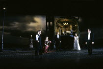 AN INSPECTOR CALLS   by J B Priestley   design: Ian MacNeil   lighting: Rick Fisher   director: Stephen Daldry   l-r: Vivienne Burgess (Edna), Kenneth Cranham (Inspector Goole), Barbara Leigh-Hunt (...