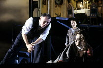 AN INSPECTOR CALLS   by J B Priestley   design: Ian MacNeil   lighting: Rick Fisher   director: Stephen Daldry   front left: Kenneth Cranham (Inspector Goole)   right: Barbara Leigh-Hunt (Sybil Birl...