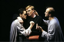 DOCTOR FAUSTUS   by Christopher Marlowe   design: Ashley Martin-Davis   director: Barry Kyle ~~centre: Gerard Murphy (Dr. Faustus)~Royal Shakespeare Company (RSC) / The Pit, Barbican Theatre, London E...