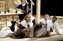 THE CRUCIBLE   by Arthur Miller   design: William Dudley   lighting: Chris Parry   director: Howard Davies ~front, 2nd left: Clare Holman (Abigail Williams)~Olivier Theatre / National Theatre (NT), Lo...