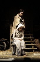 TRANSLATIONS   by Brian Friel   set design: Eileen Diss   costumes: Lindy Hemming   lighting: Gerry Jenkinson   director: Donald McWhinnie ~Maire Ni Ghrainne (Sarah), Gabriel Byrne (Manus)~Hampstead T...