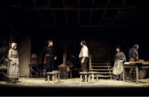 TRANSLATIONS   by Brian Friel   set design: Eileen Diss   costumes: Lindy Hemming   lighting: Gerry Jenkinson   director: Donald McWhinnie ~l-r: Maire Ni Ghrainne (Sarah), Peter Barnes (Capt. Lancey),...