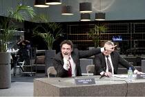 Roman Tragedies - CORIOLANUS   by Shakespeare   director: Ivo van Hove ~l-r: Fedja van Huet (Coriolanus), Fred Goessens (Menenius)~Toneelgroep Amsterdam / bite09 / Barbican Theatre, London EC2   20/11...