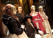 MOLIERE or THE LEAGUE OF HYPOCRITES   by Mikhail Bulgakov   translated by Michael Glenny   design: Alex Marker   director: Blanche McIntyre   centre, seated: Gyuri Sarossy (Louis XIV)   standing: Ben...