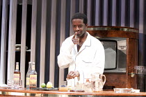 CAT ON A HOT TIN ROOF   by Tennesseee Williams   set design: Morgan Large   costumes: Fay Fullerton   lighting: David Holmes   director: Debbie Allen ~Adrian Lester (Brick)~Novello Theatre, London WC2...