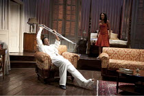 CAT ON A HOT TIN ROOF   by Tennesseee Williams   set design: Morgan Large   costumes: Fay Fullerton   lighting: David Holmes   director: Debbie Allen ~Adrian Lester (Brick), Sanaa Lathan (Maggie)   ~N...